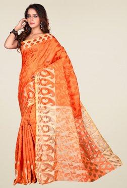 Triveni Orange Printed Art Silk Saree