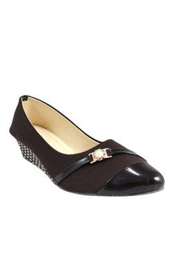Ethnoware Dark Brown & Black Pump Wedges