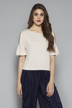 Nuon by Westside Beige Textured Top