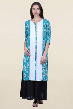 Juniper Blue & White Floral Print Kurta