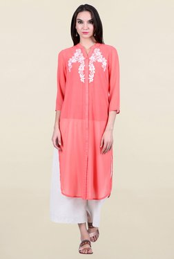 Juniper Peach Embroidered Kurta