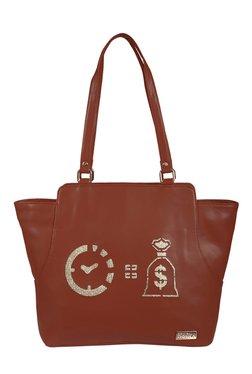Horra Time Is Money Brown Laser Cut Shoulder Bag