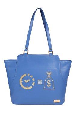 Horra Time Is Money Blue Laser Cut Trapeze Shoulder Bag