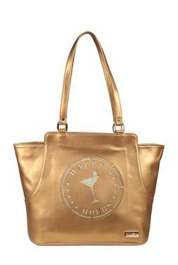 Horra Happy Hours Gold Laser Cut Trapeze Shoulder Bag