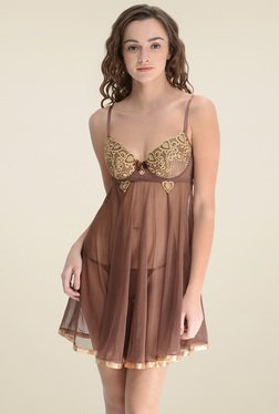 Da Intimo Brown Embroidered Babydoll