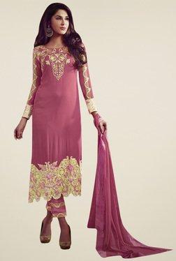 Triveni Mauve Embroidered Dress Material