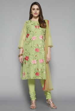Vark By Westside Green Floral Print Suit Set