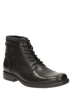 Clarks Ashburn Top Black Derby Boots