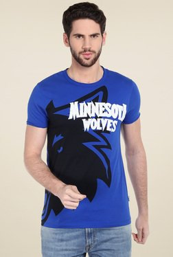 Jack & Jones Blue Round Neck Slim Fit T-Shirt