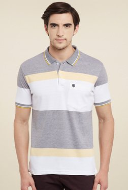 Duke White & Grey Regular Fit Polo T-Shirt
