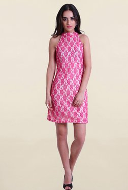 Drapes & Silhouettes Pink & White Lace Poly Net Dress