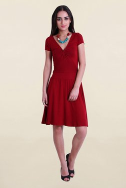 Drapes & Silhouettes Red Viscose Lycra Dress
