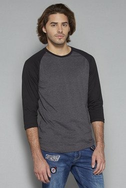Nuon By Westside Grey & Black Slim Fit T Shirt