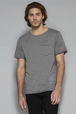 Nuon by Westside Grey Textured Slim Fit T Shirt