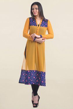 Drapes & Silhouettes Yellow Printed Georgette Kurta