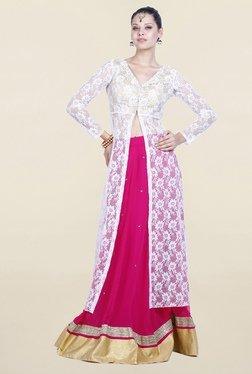 Drapes & Silhouettes White & Hot Pink Kurta With Lehenga
