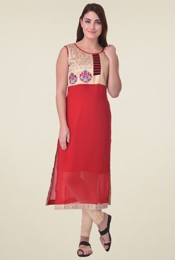 Indi Dori Red Regular Fit Embroidered Kurta
