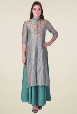Indi Dori Grey Regular Fit Embroidered Kurta