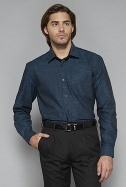 Weststreet by Westside Teal Textured Regular Fit Shirt