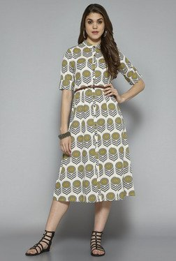 Bombay Paisley By Westside Off White Printed Dress With Belt