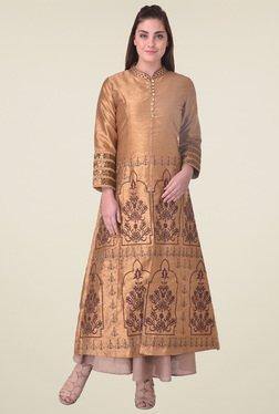 Indi Dori Tan Regular Fit Embroidered Kurta