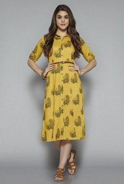 Bombay Paisley By Westside Yellow Printed Dress With Belt