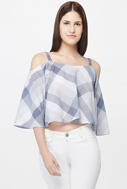 AND Grey Checks Crop Top