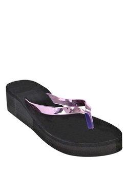 Ethnoware Patent Pink & Black Flip Flops