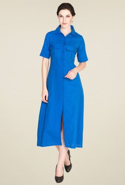 Drapes & Silhouettes Royal Blue Short Sleeves Maxi Dress