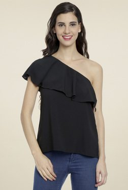 Love Genration Black One Shoulder Top