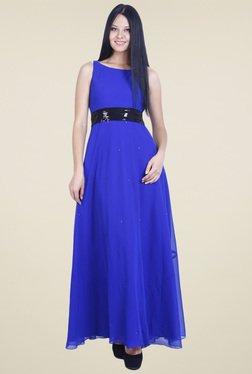 Drapes & Silhouettes Royal Blue Sleeveless Maxi Dress