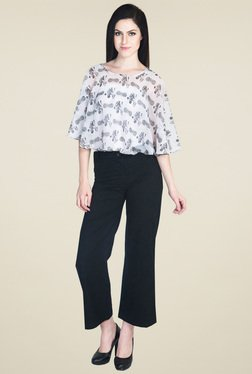 Drapes & Silhouettes Black Flat Front Trousers