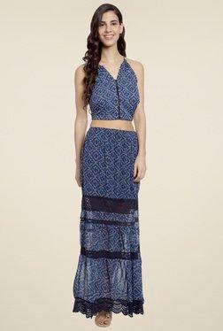 Love Genration Dark Blue Printed Skirt