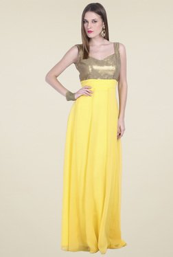 Drapes & Silhouettes Yellow Sleeveless Maxi Dress