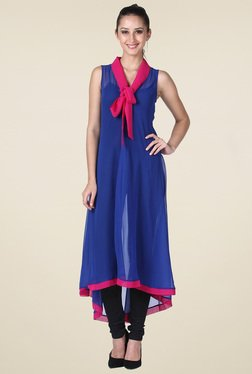 Drapes & Silhouettes Royal Blue Sleeveless Kurti