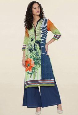 Shree Green & Blue Floral Print Kurta