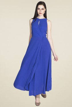 Drapes & Silhouettes Royal Blue Round Neck Sleeveless Dress