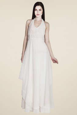 Drapes & Silhouettes Off-White Regular Fit Dress