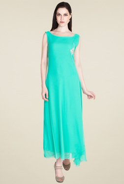 Drapes & Silhouettes Teal Green Boat Neck Maxi Dress