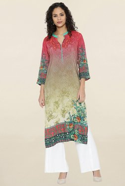 Shree Green & Red Floral Print Kurta
