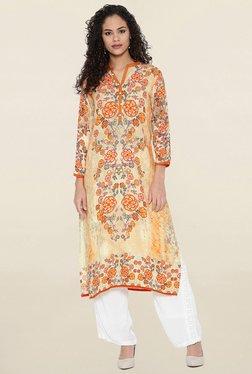 Shree Orange & Yellow Floral Print Kurta