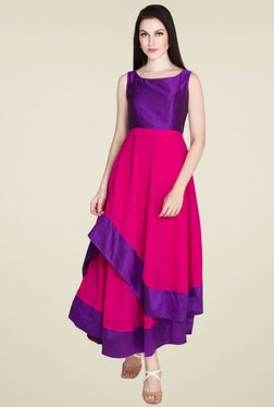 Drapes & Silhouettes Pink & Purple Sleeveless Dress
