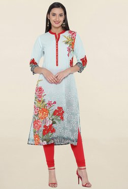 Shree Light Blue Floral Print Kurta - Mp000000001366840