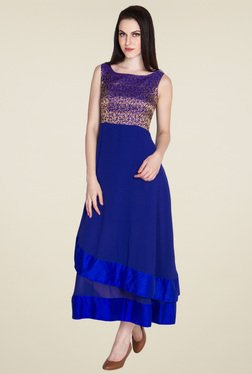 Drapes & Silhouettes Royal Blue Flaired Fit Sleeveless Dress