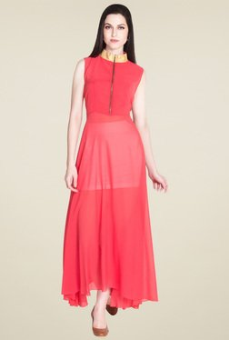 Drapes & Silhouettes Coral Band Neck Maxi Dress