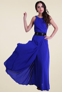 Drapes & Silhouettes Royal Blue Regular Fit Maxi Dress