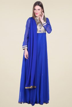 Drapes & Silhouettes Royal Blue Regular Fit Anarkali