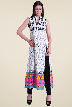 Drapes & Silhouettes White Printed Sleeveless Cotton Kurti