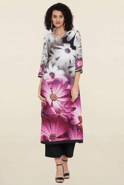 Shree Grey & Pink Floral Print Kurta