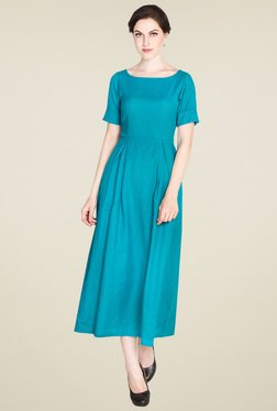 Drapes & Silhouettes Turquoise Short Sleeves Maxi Dress